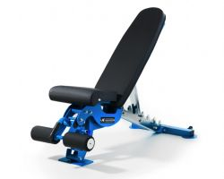 Competition adjustable weight bench: blue - full view