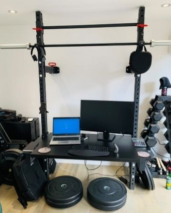 Creative Home Gym Doubling Up as a Desk